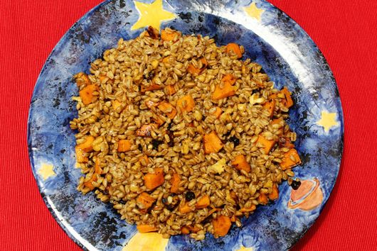 Farro with Sweet Potato and Black Garlic
