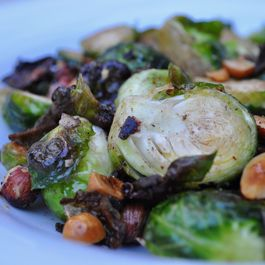 Roasted Brussels sprouts with sage infused brown butter, hazelnuts and honey