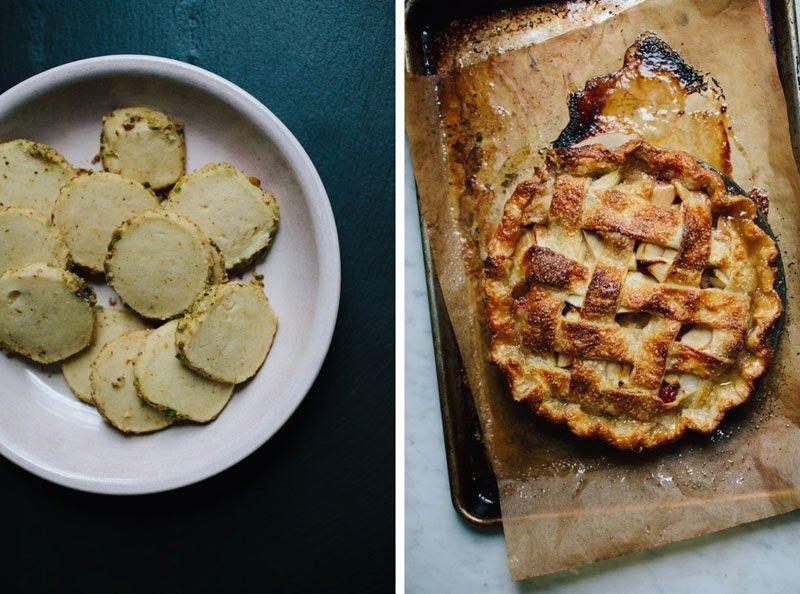 Left: Yossy's saffron pistachio shortbread cookies. | Right: A signature Yossy pie.