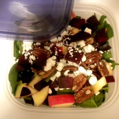 Roasted Beet and Spinach Salad with Goat Cheese