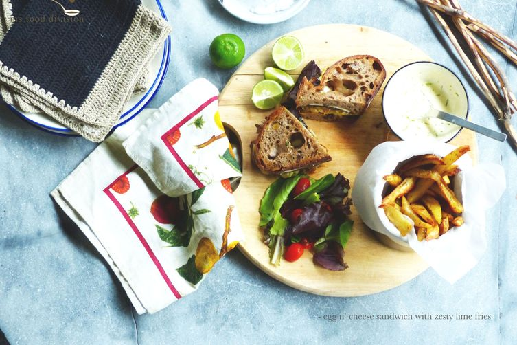 egg n' cheese sandwich with zesty lime baked fries