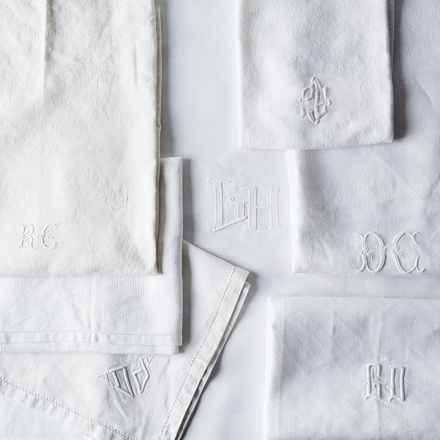 vintage white monogrammed french napkins on food52 - Linen Monogrammed Napkins