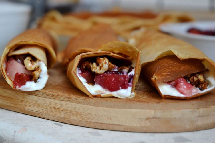 Crepes with plums, white peach ,Greek yogurt and caramelized walnuts