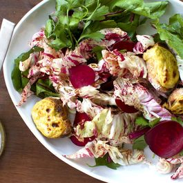 Beet and Parsley Salad with Welsh Rarebit Croutons