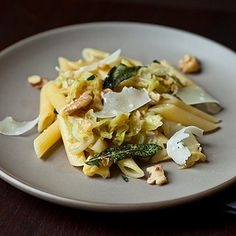 Weeknight Pasta with Caramelized Cabbage, Sage Infused Brown Butter and Walnuts