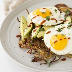 Spiralized Potato Breakfast Pie with Avocado and Fried Egg