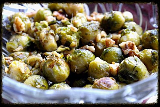 Roasted Brussel Sprouts with Butter & Walnuts