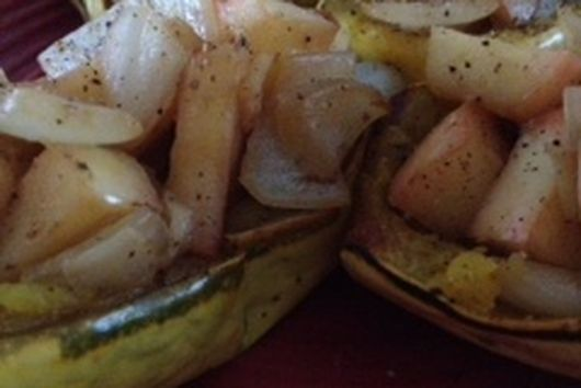 Apple Onion Stuffed Delicata Squash
