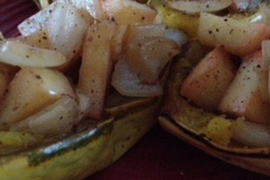 Apple Onion Stuffed Delicata Squash