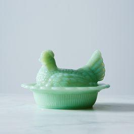 Jadeite Glass Hen
