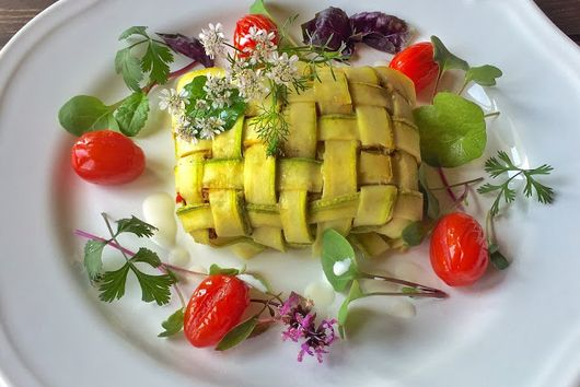 Slow Poached Sea Bass With Roasted Aubergine Puree & Courgette Lattice