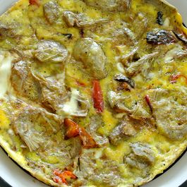artichoke & tri-color sweet baby bell pepper frittata