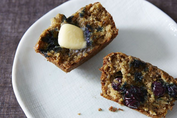 Blueberry Oatmeal Flaxseed Muffins