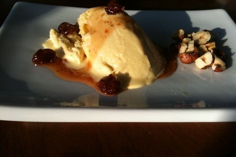 Saffron Semifreddo with Cherry-Cardamom Syrup and Salted Honey-Hazelnuts