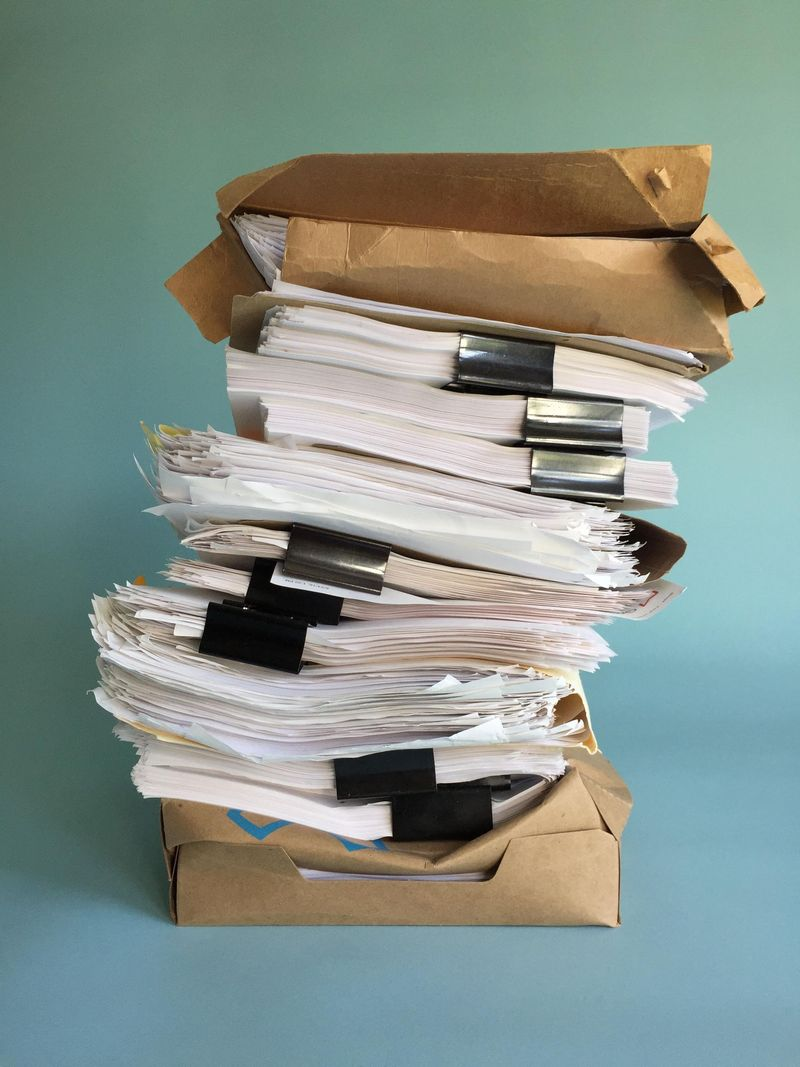 A formidable stack of Caitlin's manuscripts.