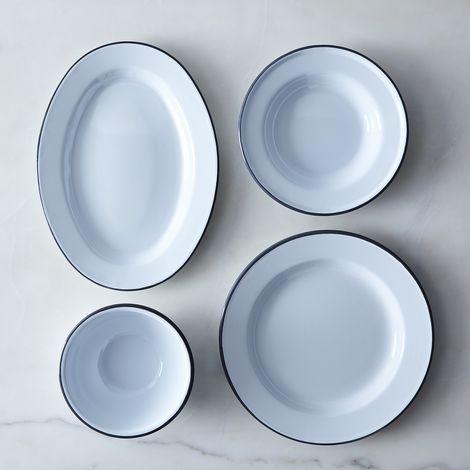 White & Grey Enamel Dinnerware