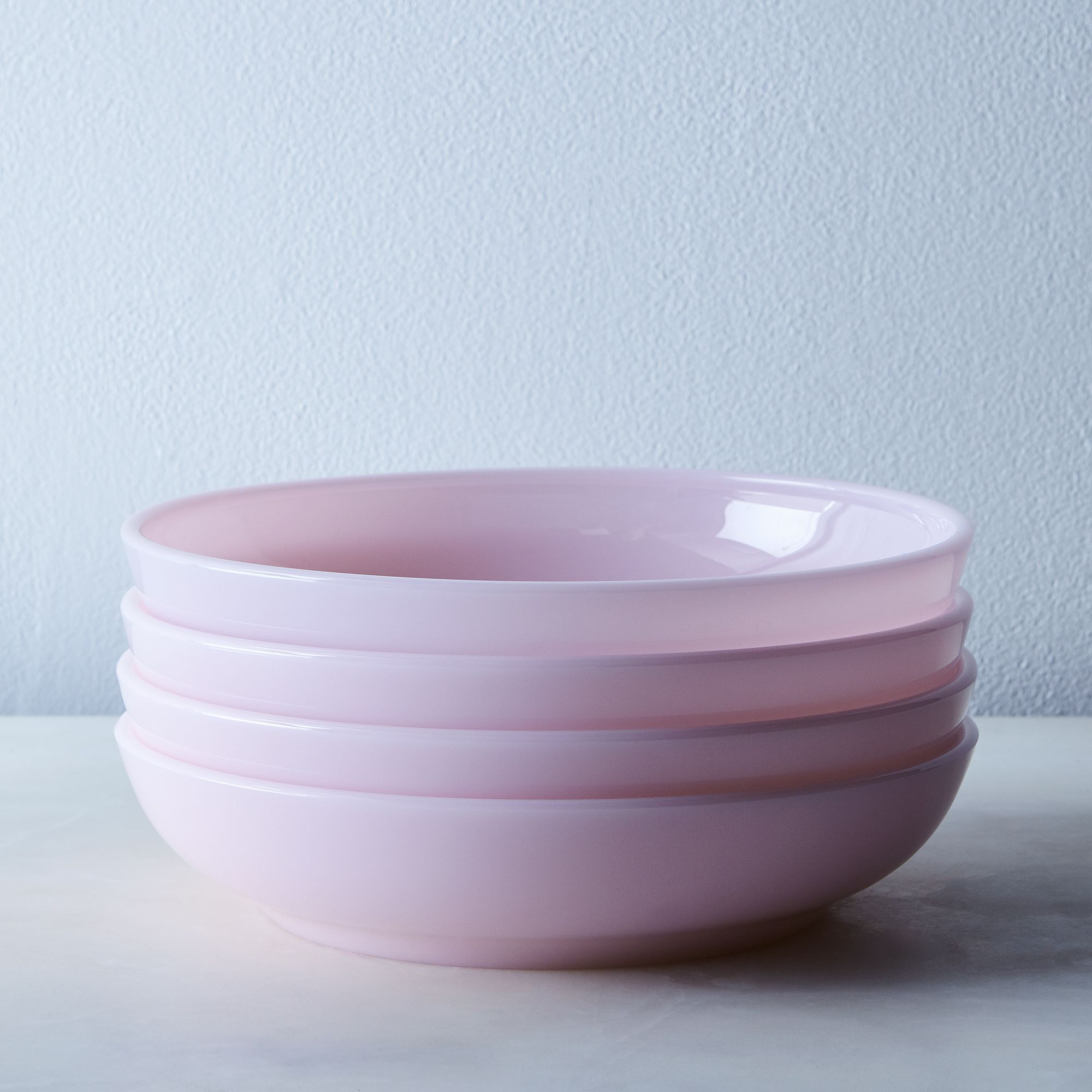 Pink Glass Shallow Bowls (set Of 4) Large