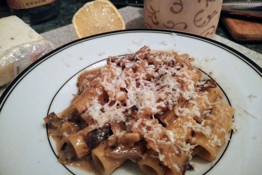 Rigatoni with Cauliflower, Mushrooms and Scallion Brown Sauce