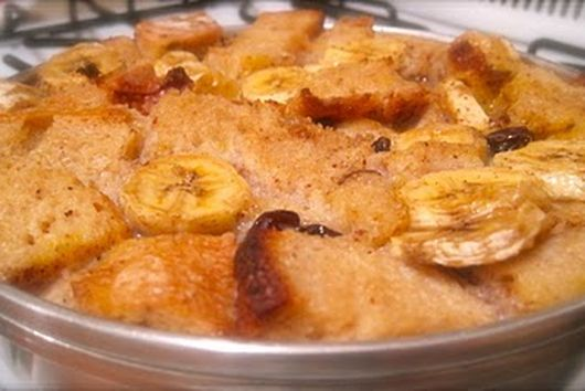 Spiced Banana Bread Pudding with Rum Sauce