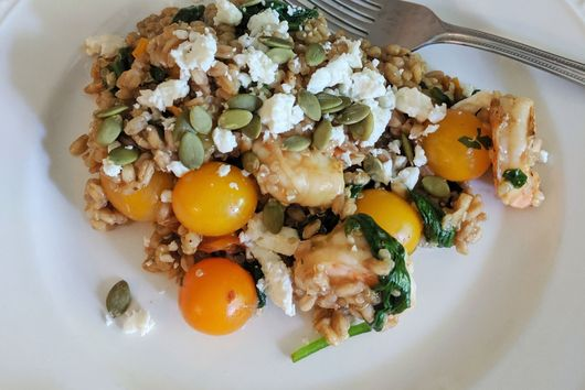 Burst Tomato and Shrimp Farro Salad