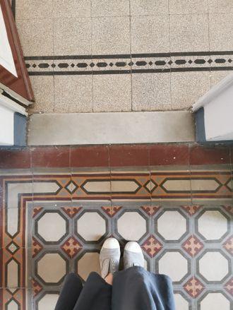 The apartment's original patterned tiles.