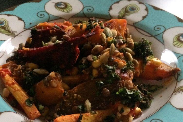 Beet, Squash, Lentil Warm Salad with Feta