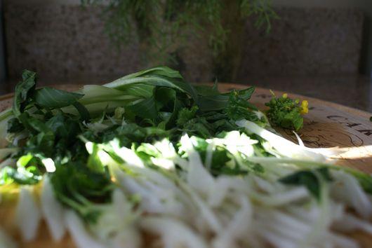Saganaki on top of Chinese Broccoli and Bok Choy