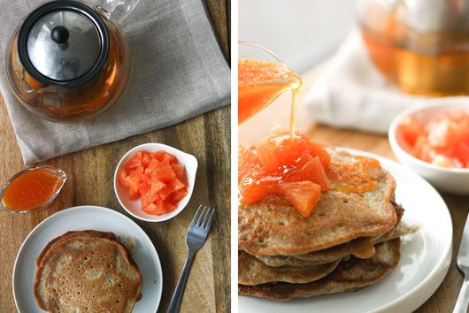 Spiced Pear and Buckwheat Pancakes with Orange-Honey Topping