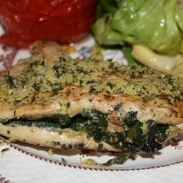 Spinach Stuffed Grilled Chicken with Lemon and Thyme Gremolata