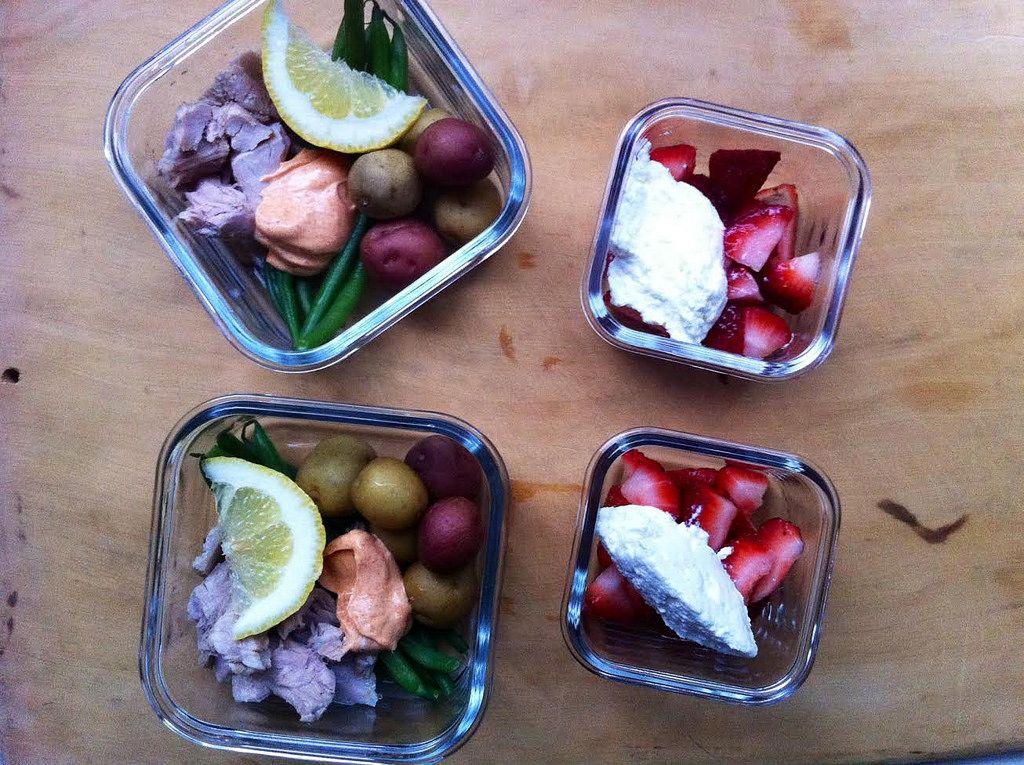 Tuna Nicoise and Strawberries with Ricotta