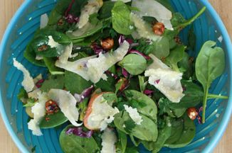 Baby Spinach Salad with Toasted Hazelnuts, Pear, and Parmesan Recipe ...
