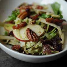 Not-Too-Virtuous Salad with Caramelized Apple Vinaigrette