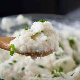 Whipped Goat Cheese and Chive Mashed Cauliflower