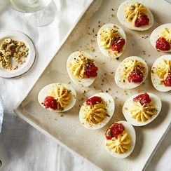 Deviled Eggs with Spicy Tomato Jam and Pistachio Dukkah
