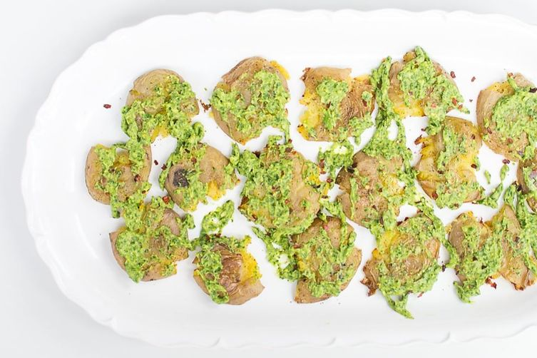 CRISPY SMASHED POTATOES WITH AVOCADO CHIMICHURRI