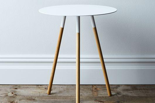Steel & Wood Round Side Table