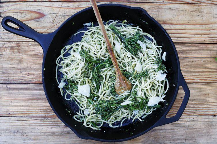 Pasta with Broccolini Pesto and Crème Fraîche
