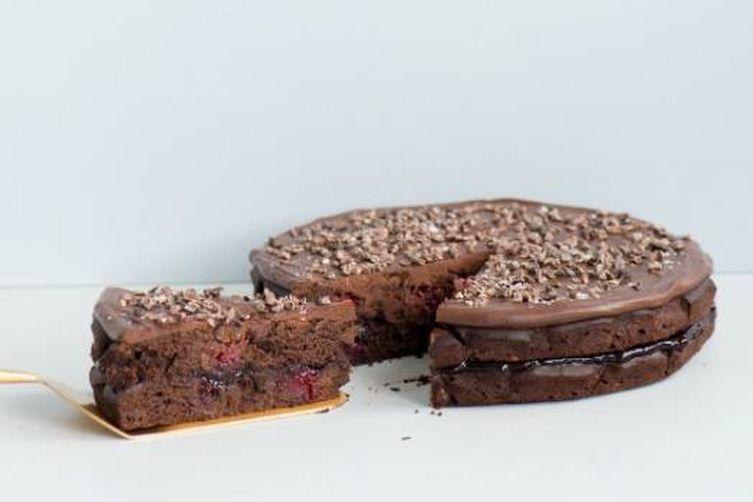Pinot noir chocolate cake with blackberries