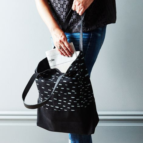 Two-Tone Rain Tote with Black Leather