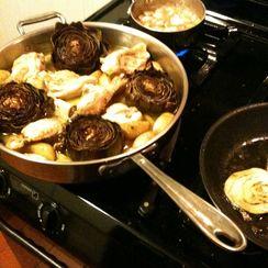 Roasted Artichokes, Potatoes & Chicken