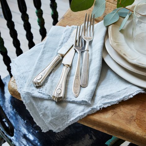Fog Blue Linen Napkins (Set of 2)