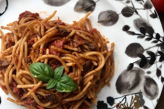 Spaghetti with Porcini and Tomato Sauce