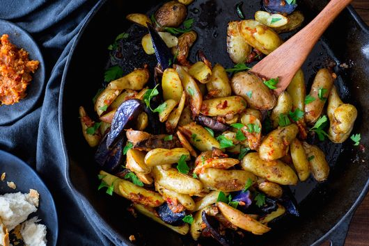 Roasted Baby Potatoes in Harissa Compound Butter