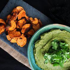 Roasted Garlic, Cilantro Hummus with Cajun Sweet Potato Chips