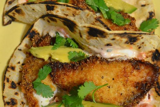 fish tacos with peppadew tartar sauce.