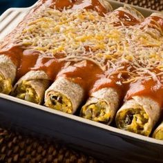 LA VICTORIA BUTTERNUT SQUASH, BLACK BEAN & GREEN CHILE ENCHILADAS