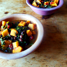 Vegan Black Bean Chili with Butternut Squash and Kale