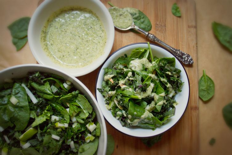 Kale, Spinach, and Apple Salad with Mint-Chive Dressing
