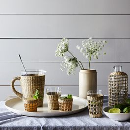Seagrass Cage Carafe & Tumblers