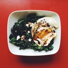Sautéed Red Kale with Feta and a Fried Egg